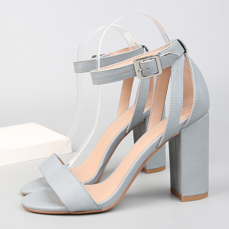 2018 Ankle Strap Heels Women Sandals Summer Shoes Women Open Toe Chunky High Heels Party Dress Sandals Lady Fashion Blue color covibesco nude high heels sandals women ankle strap summer dress shoes woman open toe sandals sexy prom wedding shoes large size