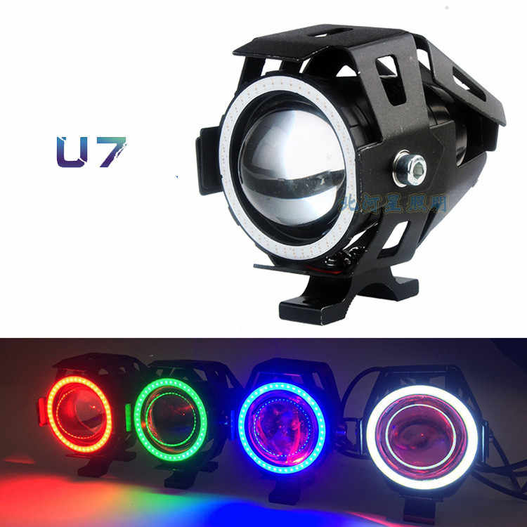 1PC 125W U7 Store Motorcycle Angel Eyes Headlight DRL spotlights auxiliary bright LED bicycle lamp accessories car work Fog ligh