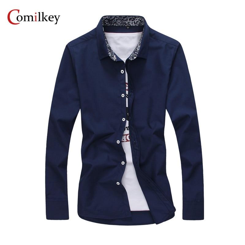 브랜드 의류 남성 비즈니스 셔츠 슬림 긴팔 남성 셔츠 캐주얼 Camisa Social Masculina 남성 셔츠 Chemise Homme