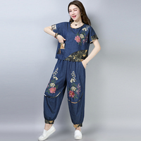 summer Vintage National style embroidery Pant suits women's sets Tops+ loose bloomers two piece denim Short sleeve Casual Sets