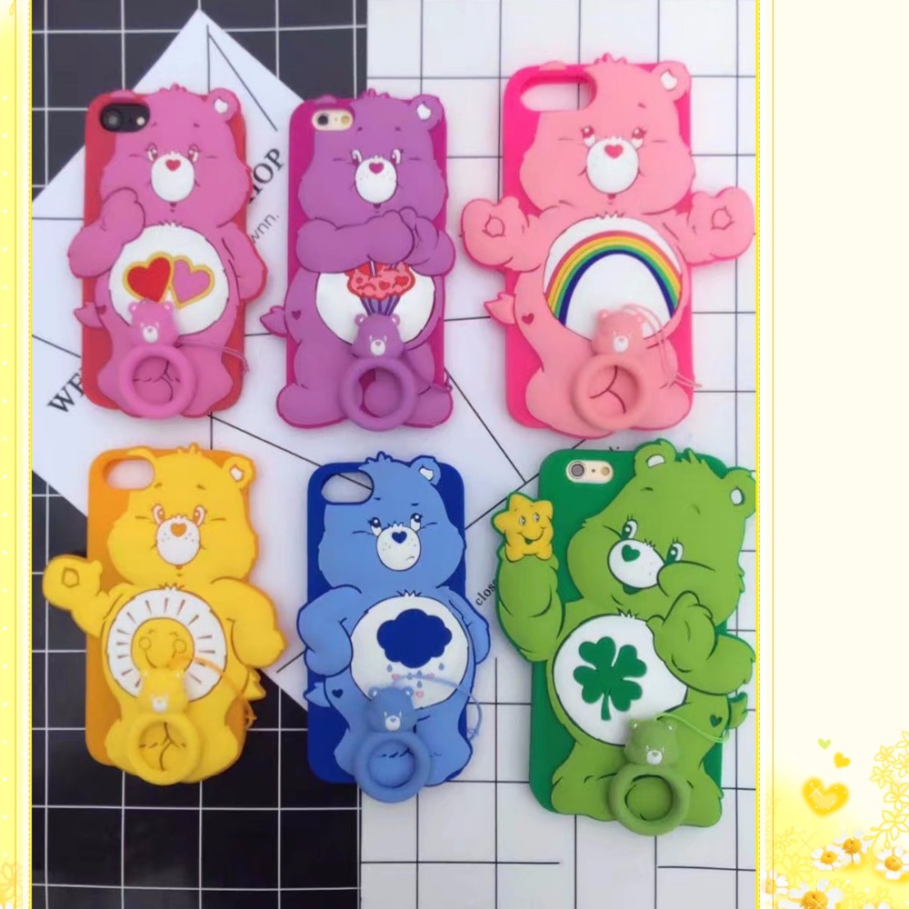 New 3D Cute Rainbow <font><b>Bear</b></font> Coque Case For iphone 7 7plus,Soft Silicone <font><b>Phone</b></font> Back Cover For iPhone 6 6S plus Shockproof Back Cover