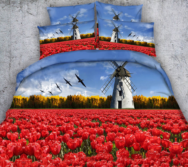 Blue Sky Red Flower Garden Windmills Bedding Sets 3D Quilt/Duvet Cover  Single Full Queen