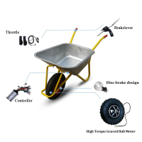 New 14.5 Electric Wheelbarrow Gear Motor 24v36v 48v 300w 350w 500w All Terrain Electric Wheelbarrow kit Fat Off road Rough Tyre