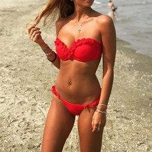 Купить с кэшбэком Summer Sexy Off Shoulder Bikini Swimwear Women Push Up Bikinis Set Brazilian Swimsuit Bathing Suit Beach Swimming Suit For Women