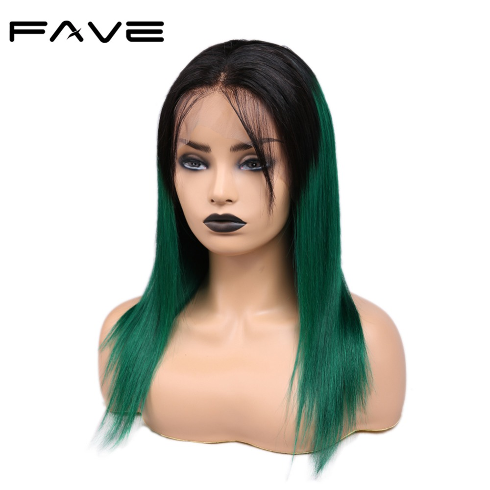 FAVE 13*4 Lace Frontal Ombre Wigs With Baby Hair Pre Plucked Natural Hairline Brazilian Remy Straight Human Hair Wigs Mix Color