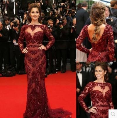 Prom Dresses Cannes 2015 Red Carpet Sexy Burgundy Lace Long Sleeve Prom Dress Celebrity Floor-Length Formal Evening Dresses