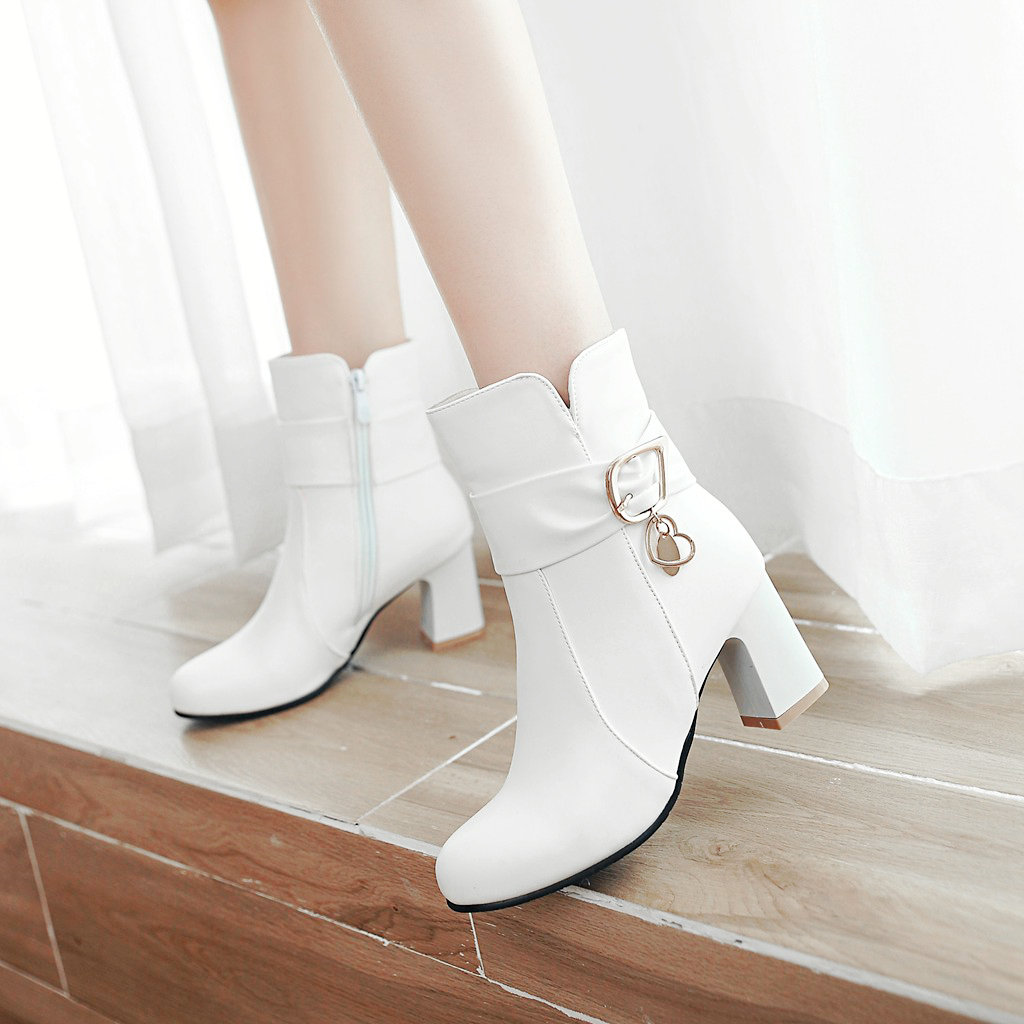 Women Pu Ankle Boots Thick High Heels Zipper Round Toe Spring Fall Ladies Shoes Black Pink White