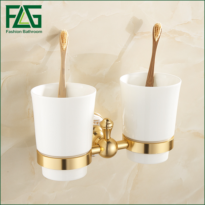 FLG Wall Mount Bathroom Double Ceramic Cup Holder Toothbrush Tumbler Holder Gold Space Aluminum Bathroom Accessories new arrival flower carved bath deck mount toothbrush holder single ceramic cup with metal holder tumbler holder