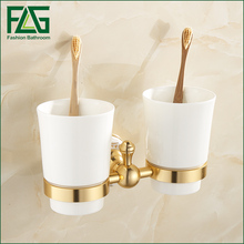FLG Wall Mount Bathroom Double Ceramic Cup Holder Toothbrush Tumbler Holder Gold Space Aluminum Bathroom Accessories цена 2017