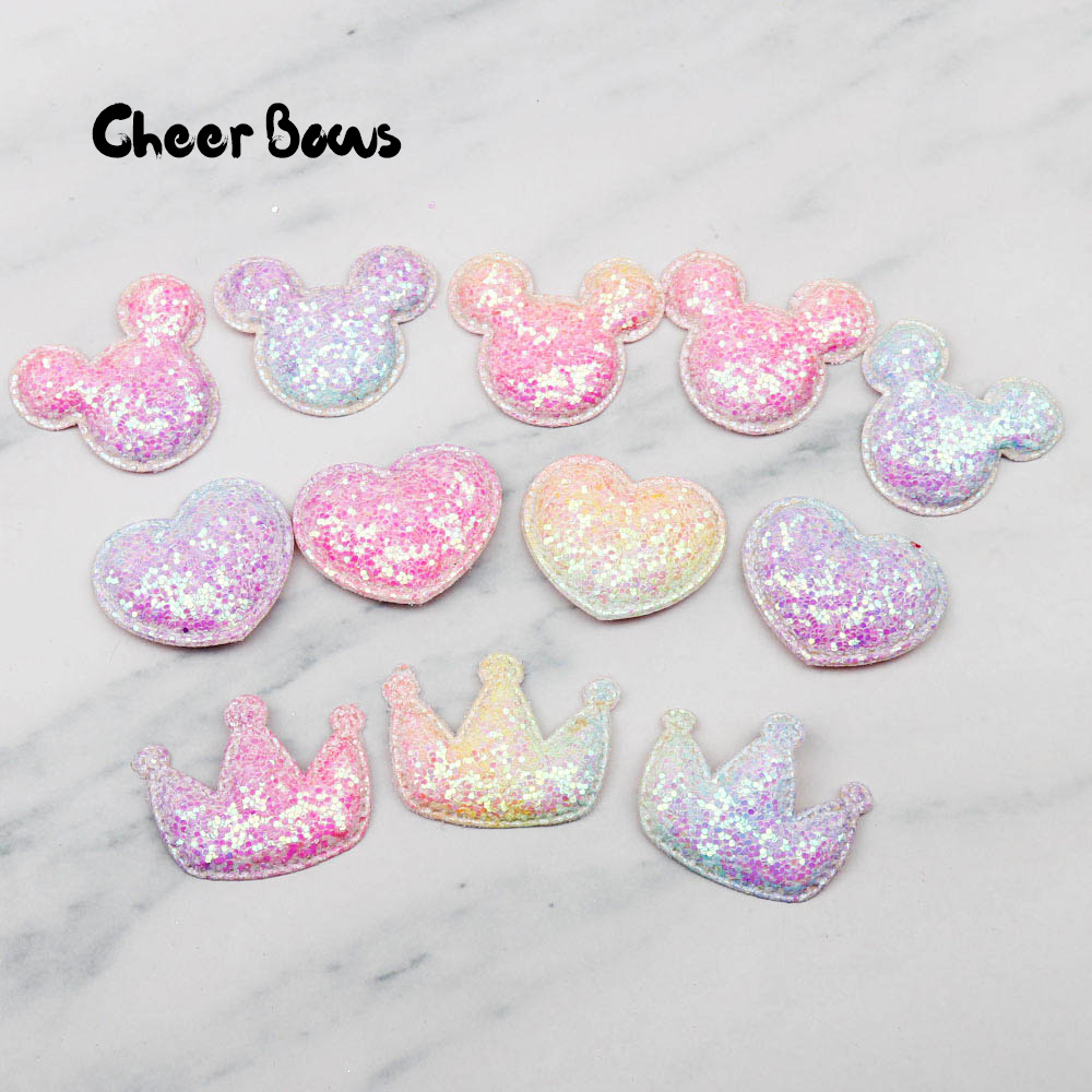 d8a9961cc7 Cheer Bows Glitter Rainbow Appliques Heart Paded Patches for Clothes Craft  DIY Bag Hairbows/clips Ornament Accessories 10pcs