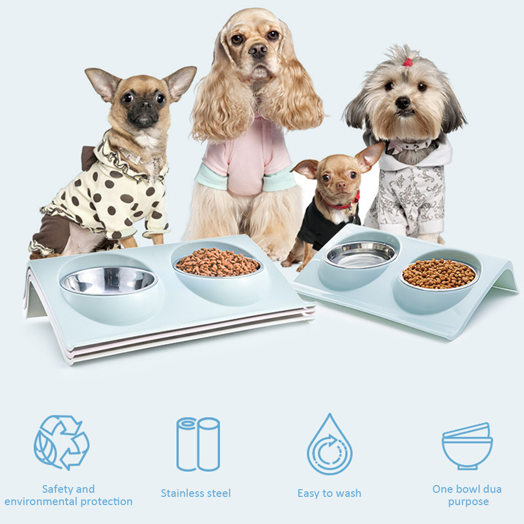 Thicken Pet Food Bowl Stainless Steel Double Pet Bowls Food Water Feeder for Dog Puppy Cats Pets Supplies Feeding Dishes 8