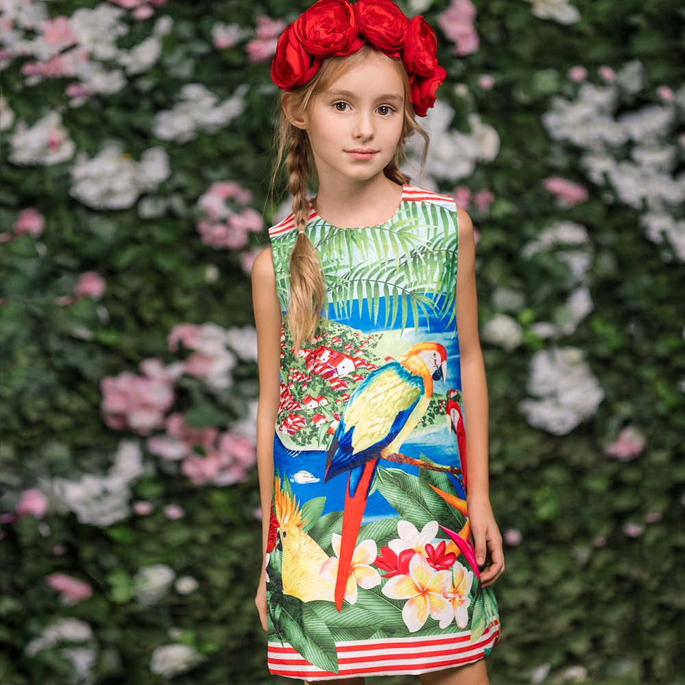 Little Girls Dresses Summer 2018 Brand Kids Clothes Children Dress Parrot Flower Print Robe Fille Enfant Princess Dress Costume children dress princess costume robe fille enfant cotton 2016 brand kids dresses for girls clothes poppy floral baby girl dress