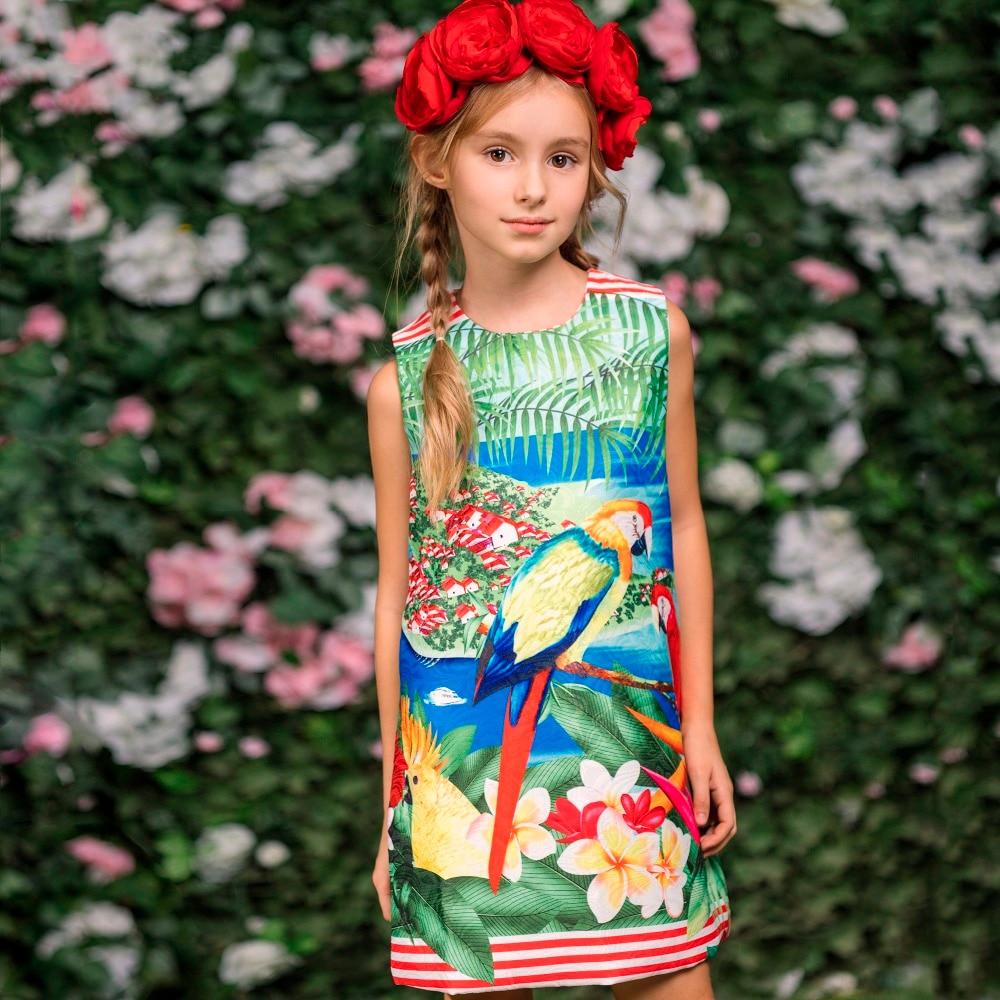 c4e31aefd Meninas Vestidos De Verão 2018 Da Marca Crianças Roupas Crianças Vestido  Flor Papagaio Impressão Robe Fille Enfant Traje Vestido de Princesa em  Vestidos de ...