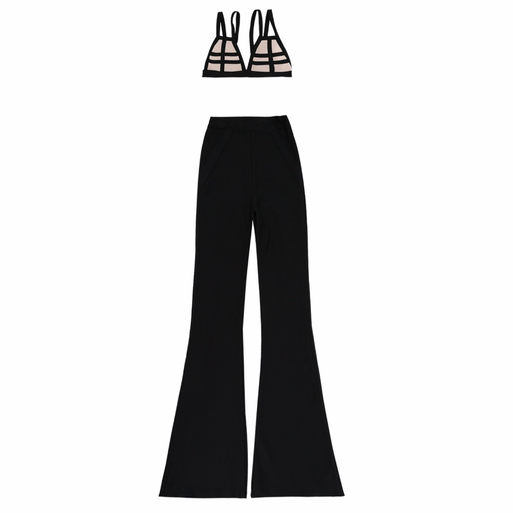 Femmes Offre Sexy Pantalon Spéciale Crop Ensemble Bandage Nouvelle En Soutien Jambe 2 Arrivée gorge Gros Tops Américain Large Flare Pièce wBI7nY8z