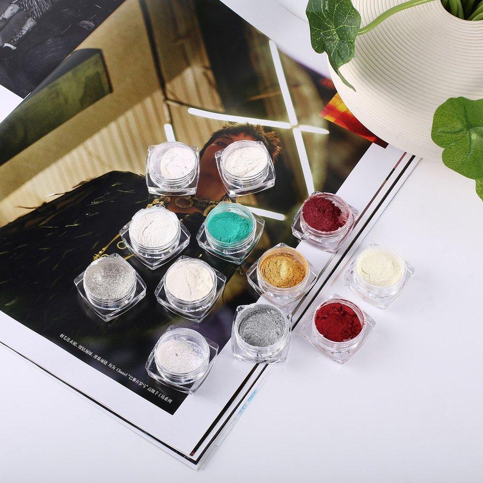 10PCS Nail Salon Fine Glimmer Nail Glitter Dust Sequins Chrome Powder 3D Polish Tips