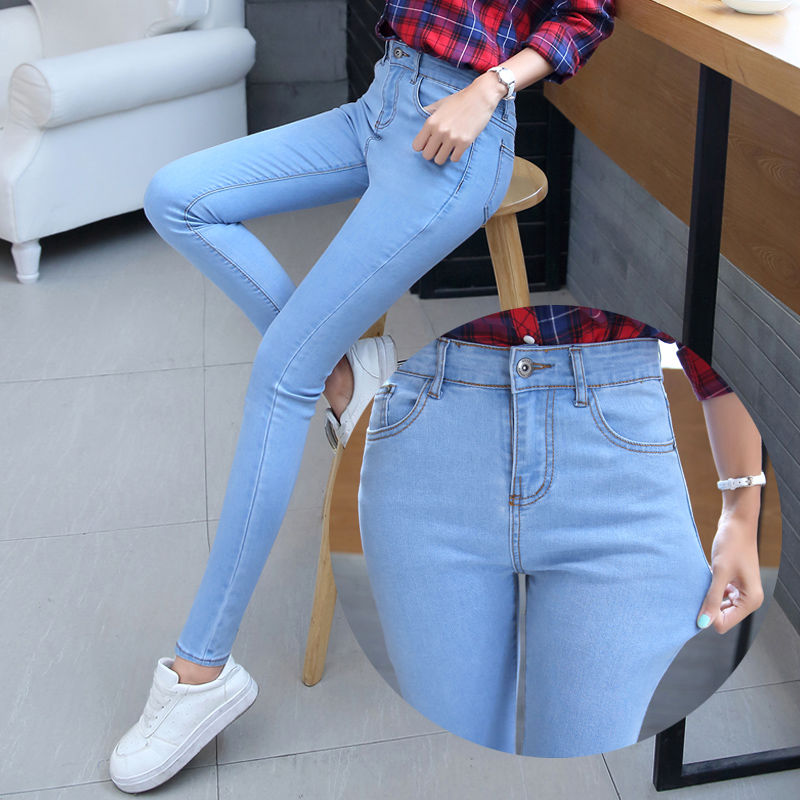 New Pencil Jeans For Women High Waist Elastic Skinny Pants Trousers Stretch Denim Female Washed Black Blue Slim Jeans Plus Size