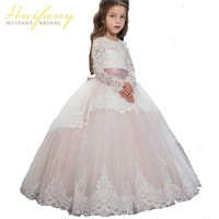 Light Pink Scoop Lace Long Sleeve Little Flower Girl Dresses Long Train Tulle Puffy Ball