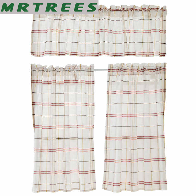 MRTREES Plaid Linen Window Short Curtains for Kitchen The Bedroom Curtains for The Living Room Tulle Curtains for Window door