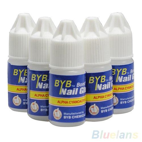 Pro 5 Pcs BYB 3G Nail Glue Glitters DIY Nail Art Deco Acrylic Tips Adhesive Tool