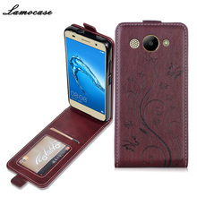 Lamocase Case For Huawei Y3 2017 Leather Flip Cover For Huawei Y3 2017 MT6737M CRO-L02 CRO-L22 5.0 inch Protective Phone Bags