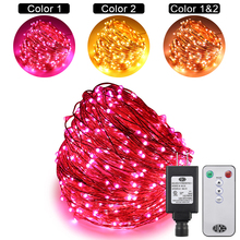 Dual-Color led Remote Control 30M 300LEDs Copper Wire Warm White & Pink String Lights 10 Modes Timed+UL(US)Adapter+Free shipping