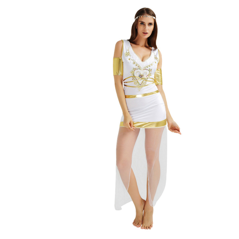 Greek Goddess Costumes Women Sexy Deep V neck Short Sleeve Split Lace White Halloween Costumes for Women with Belt Arm Wear-in Movie u0026 TV costumes from ...  sc 1 st  AliExpress.com & Greek Goddess Costumes Women Sexy Deep V neck Short Sleeve Split ...