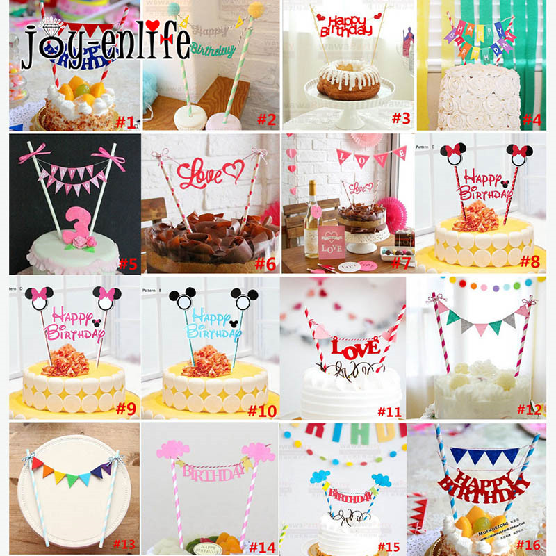 JOY-ENLIFE 1set Happy Birthday Cake Topper Minnie Mouse Cupcake Birthday Party Decoration Kids Adult Baby Shower Party Supplies