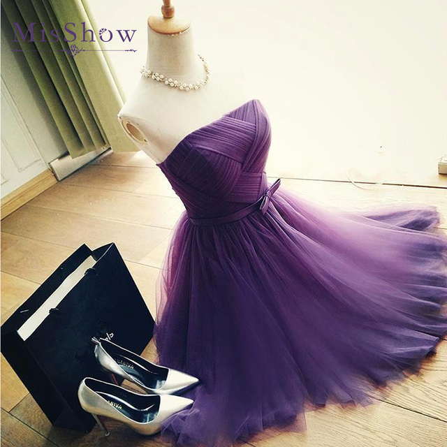 A Line Strapless prom dresses 2019 Pleated Purple Tulle Short Prom Dress with Belt Elegant