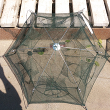 SHOU DIAO 6 Holes Automatic Folding Fishing Net Shrimp Cage Nylon Foldable Crab Fish Trap Cast Network