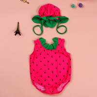 Girl One Piece Swimwear Baby Bathing Suit with a Cartoon Swimming cap Kids Cute Watermelon Swimsuit for Girls about 2-7 Years