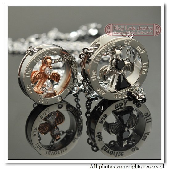 free shipping, circle  COUPLE NECKLACES, Rhinestone, 316L stainless steel angel necklace pendant, Wholesale WP289