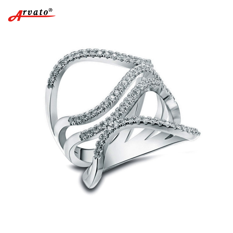 Arvato Luxury AAAAA CZ Zircon Rings for Women Simple Line Ring Wholesale Size 6 7 8