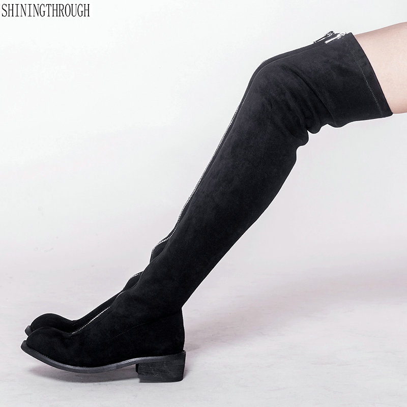 Sexy over the Knee High women Boots med square Heels Design zipper Women Shoes rouned toe Women Boots black gray khaki stretch fabric over the knee boots sexy back zipper low heels shoes women round toe black khaki long boots elastic botas mujer