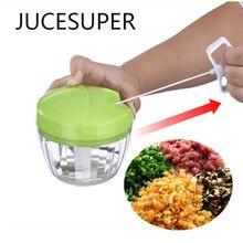 Multifunktions Hohe Schnelle Chopper Knoblauch Cutter Gemüse Obst Twist Schredder Manueller Fleischwolf Edelstahl + PP