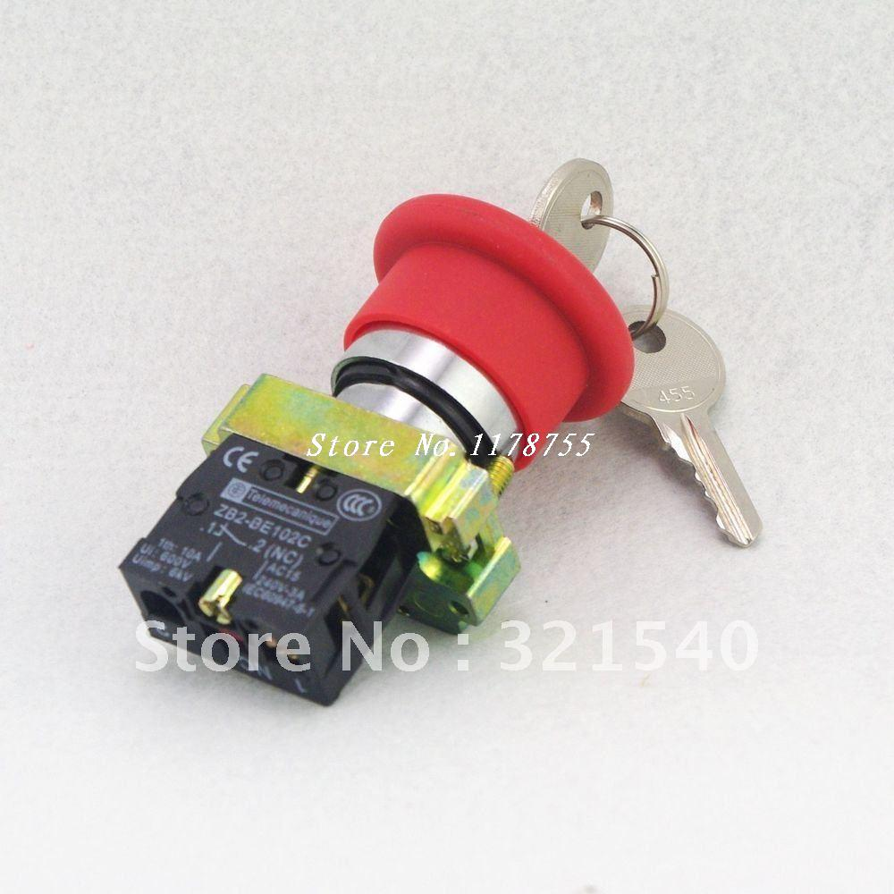 цена на XB2BS142C Key Released 1N/C Red Emergency Stop Mushroom Push button Replace Telemecanique