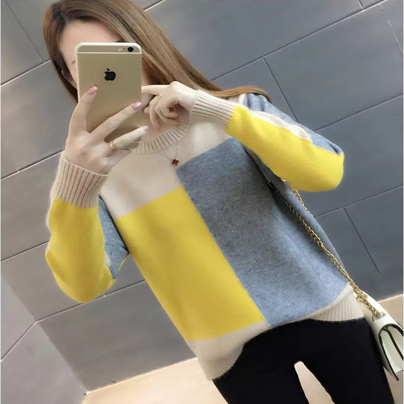 Paris Girl Contrast Color Winter Sweater Women Long Sleeve Jumper Women Sweater And Pullover Knitted Sweater Female Pull Femme