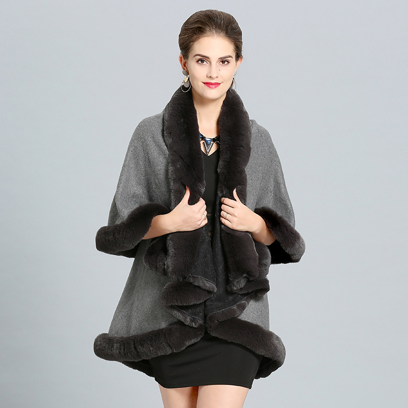 SC279 2018 Winter Warm Black Long Cloak 2 Layers Poncho Cape Oversize Sweater Women Imitation Fox Fur European Cardigan Coat in Women 39 s Scarves from Apparel Accessories
