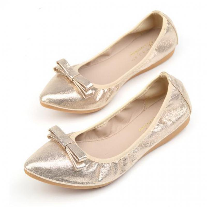 Plus Size 34~43 Gold Silver Ballet Flats Women Ballerina Shoes Black Womans Comfortable Loafers Shoes Breathable Bow Ballerinas blue sequin large size gold pointy ballerina sparkling women chinese wedding shoes flats bow party ballet 10 glitter loafers