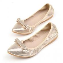 Plus Size 34~43 Gold Silver Ballet Flats Women Ballerina Shoes Black Womans Comfortable Loafers Shoes Breathable Bow Ballerinas