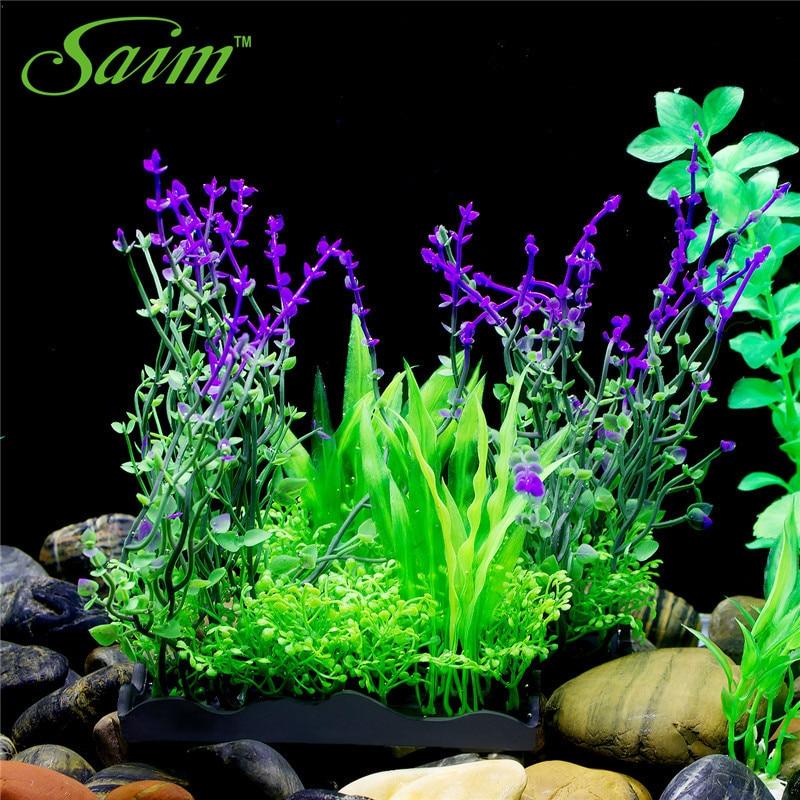 2pcs lot beautiful flowers plastic growing effect aquarium for Artificial pond plants sale