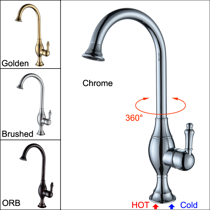 Brass Sink Swivel Pipe Kitchen Faucet Handles Hot Cold Mixer Water ...