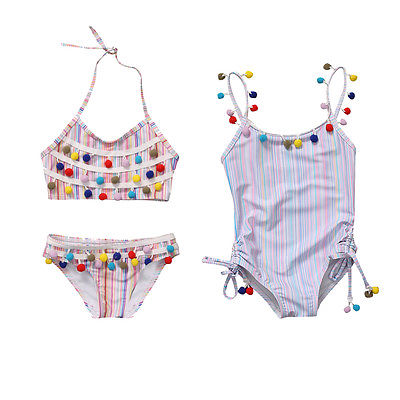 2e17d3c79cf14 Rainbow Striped Kids Girls Little Balls One Piece Swimsuit Bikini 2017  Tankini Swimwear Bathing Swimming Clothes
