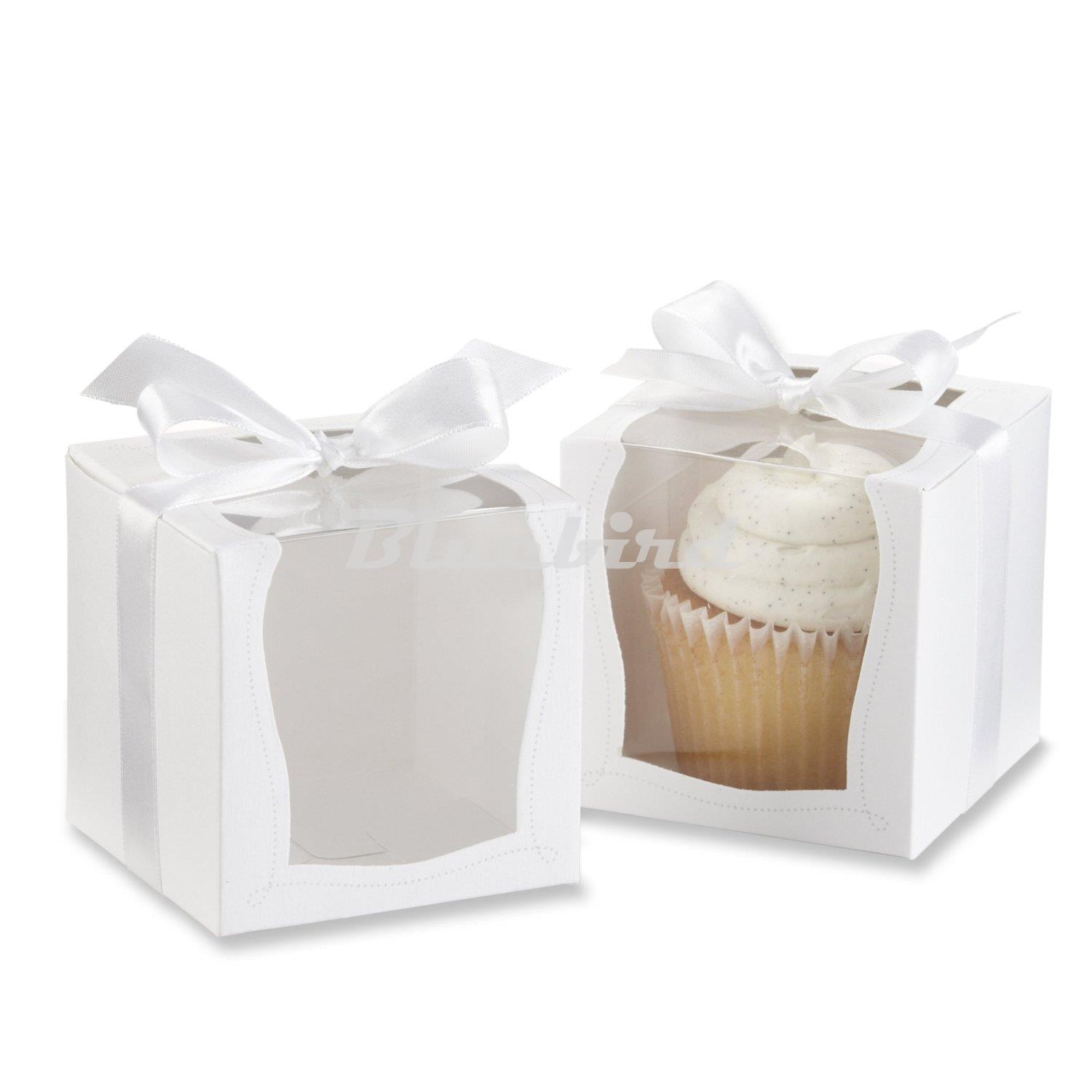 12x White Paper With Clean Pvc Window Cupcake Cake Party Wedding ...
