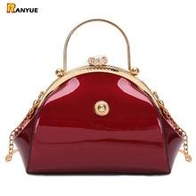 黒赤高級パテントレザートートハンドバッグ女性バッグファッション女性クラッチ女性パーティー財布イブニングバッグ結婚式のチェーン嚢