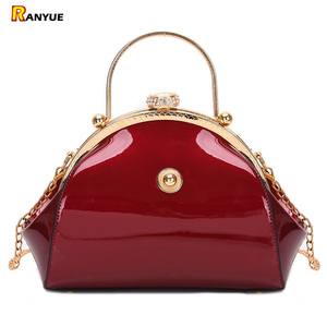 Image 1 - Black Red Luxury Patent Leather Tote Handbags Women Bags Fashion Female Clutch Ladies Party Purses Evening Bag Wedding Chain Sac
