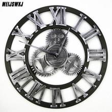 3D Retro Gear Wall Clock Wandklok Wall Clocks Saat Vintage Watch Reloj De Pared Large Decoracion