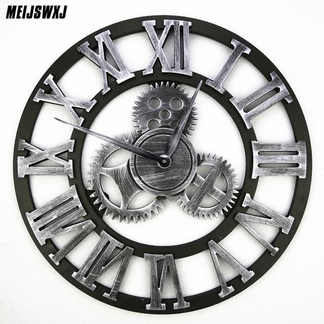 20938c84fdd 3D Retro Relógios de Parede Relógio de Parede Da Engrenagem Wandklok Klok  Saat Relógio Reloj De