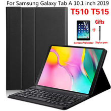 Manyetik kapak Samsung Galaxy Tab için bir 10.1 inç 2019 T510 T515 SM T510 SM T515 kablosuz Bluetooth klavye durumda Funda + film