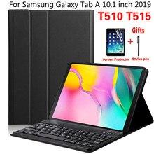 ฝาครอบแม่เหล็กสำหรับSamsung Galaxy Tab 10.1 นิ้ว 2019 T510 T515 SM T510 SM T515 คีย์บอร์ดไร้สายบลูทูธกรณีFunda + ฟิล์ม
