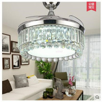 NEW 42 inch 106cm discoloration remote co remote control invisible LED fan lamp dining room ceiling light 85 265V